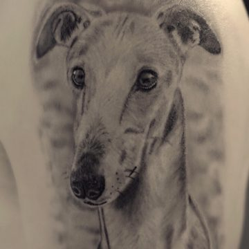 Dog named Angel by Samantha@BloodlineTattoo.nl
